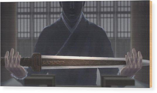 Resting Sword Wood Print by Hiroshi Shih