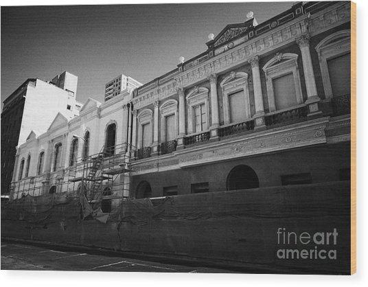 restoration of old colonial buildings damaged by earthquake compania de jesus Santiago Chile Wood Print by Joe Fox