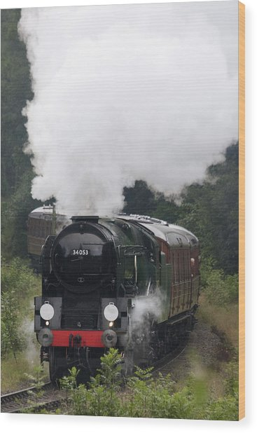 Restored Steam Engine 34053 Wood Print