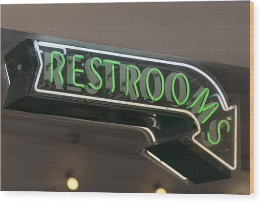 Restrooms In Neon Wood Print