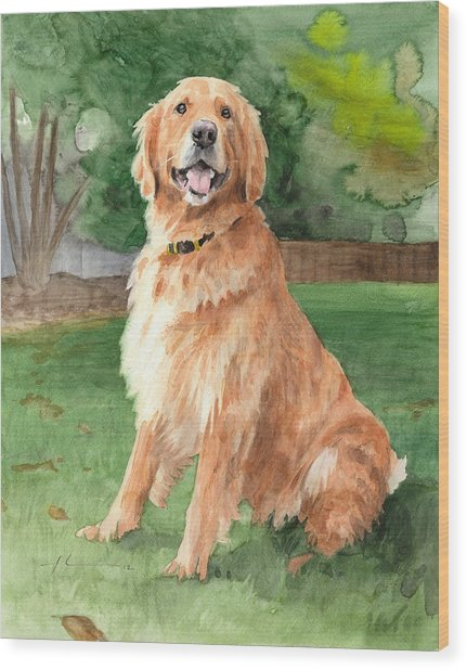 Retriever Watercolor Portrait Wood Print by Mike Theuer