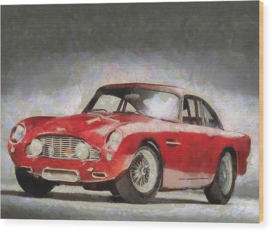 Retro Aston Martin Db5 1963-1965 Wood Print