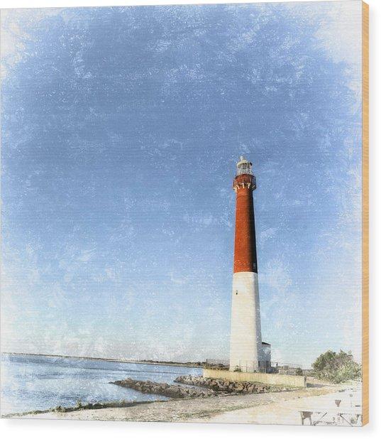 Retro Barnegat Lighthouse Barnegat Light New Jersey Wood Print