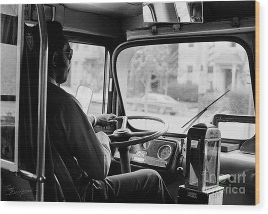 Retro Bus Driver Wood Print