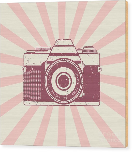 Retro Camera, Vintage Design, Vector Wood Print