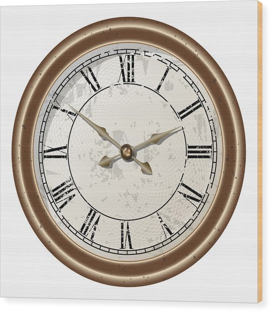 Retro Clock Wood Print by Volodymyr Horbovyy