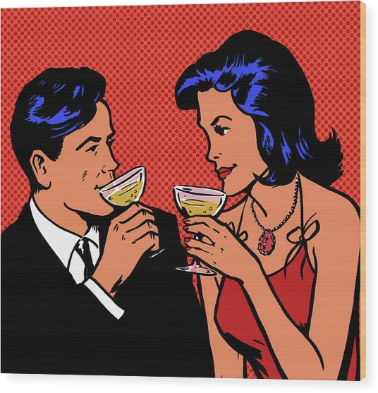 Retro Couple Drinking Champagne Wood Print by Jacquie Boyd