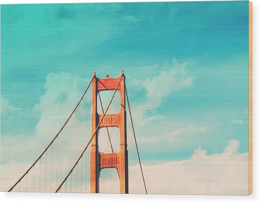 Retro Golden Gate - San Francisco Wood Print