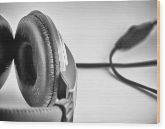 Retro Headphones Wood Print