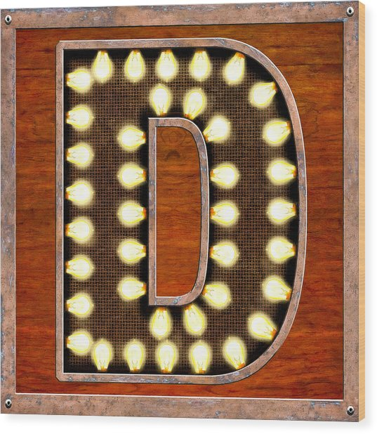 Retro Marquee Lighted Letter D Wood Print