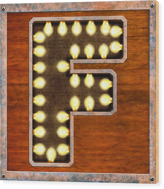 Retro Marquee Lighted Letter F Wood Print