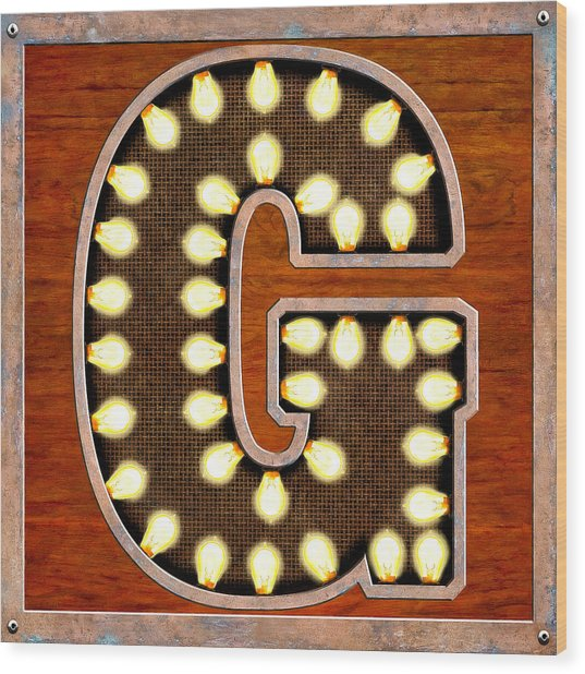 Retro Marquee Lighted Letter G Wood Print