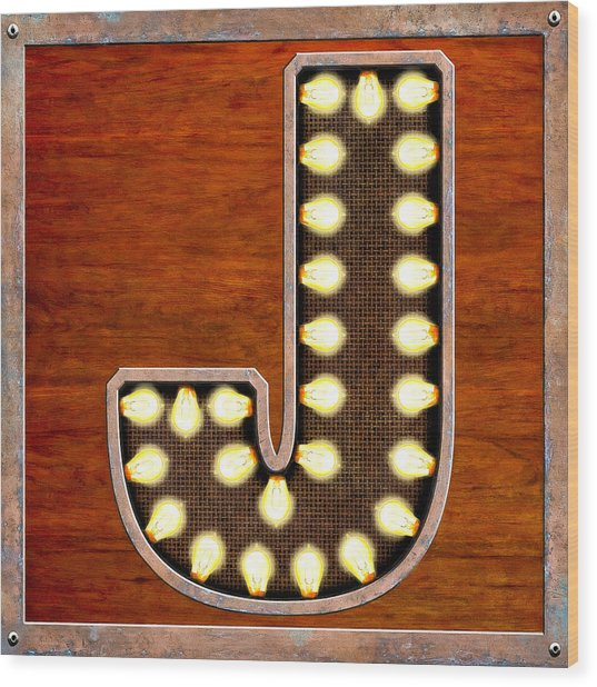 Retro Marquee Lighted Letter J Wood Print