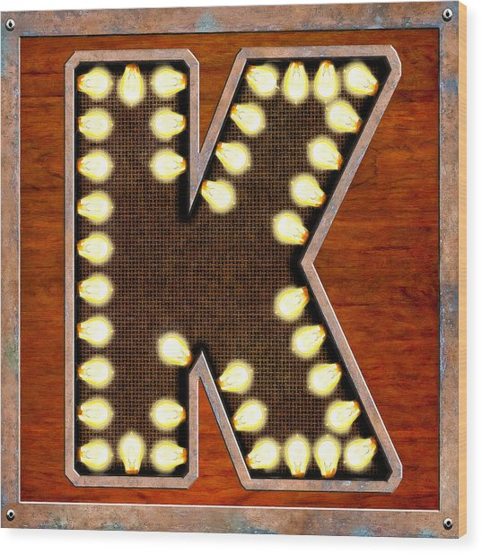 Retro Marquee Lighted Letter K Wood Print