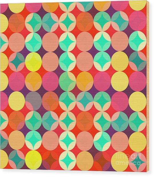Retro Style Abstract Colorful Background Wood Print