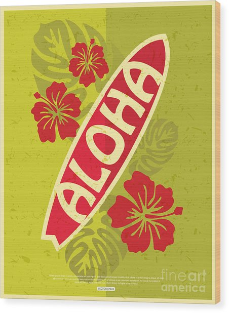 Retro Surfing Typographical Poster With Wood Print