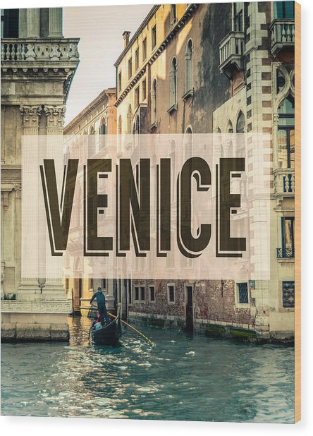 Retro Venice Grand Canal Poster Wood Print