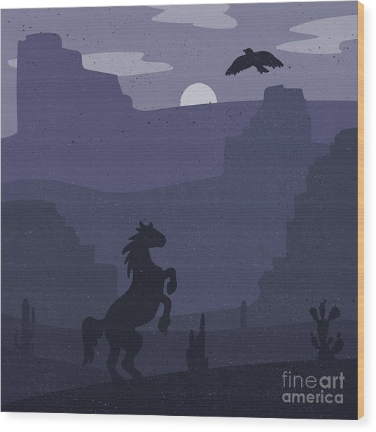 Retro Wild West Galloping Horse In Wood Print by Barsrsind