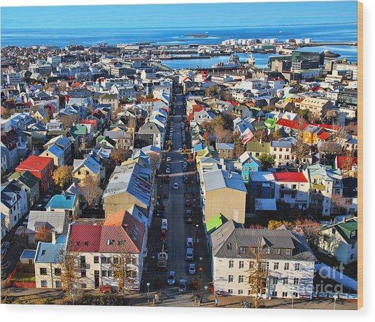 Reykjavik Cityscape Panorama Wood Print