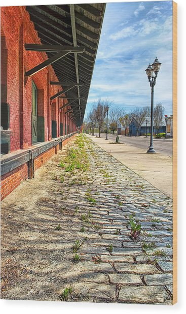 Reynolds Street View - Southern Railway Depot In Augusta Wood Print