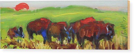 Rhino Buffalo Wood Print