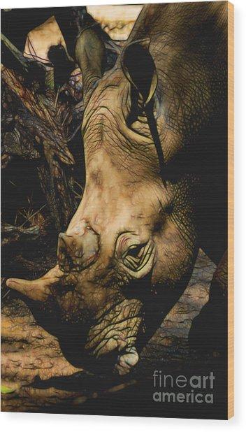 Rhino Hardship Wood Print