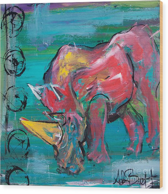 Rhino - Wisdom Wood Print