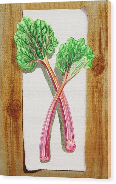 Rhubarb Tasty Botanical Study Wood Print
