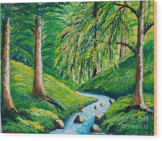 Riachuelo En El Bosque Tropical Wood Print