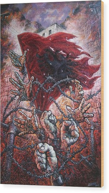 Ribellion On Infern Wood Print by Lazar Taci