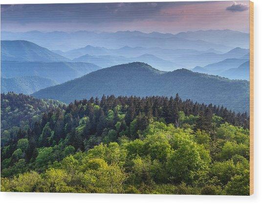 Ridges At Sunset Wood Print