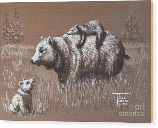 Riding Bear Back Wood Print