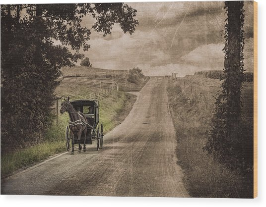 Riding Down A Country Road Wood Print