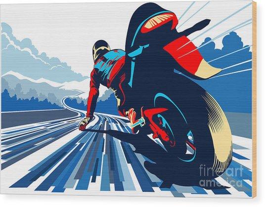 Riding On The Edge Wood Print