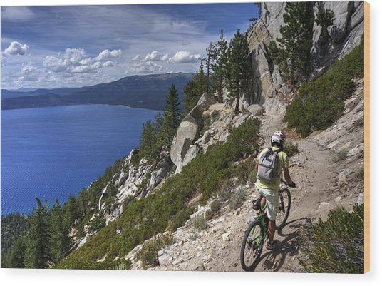 Riding The Flume Trail Wood Print
