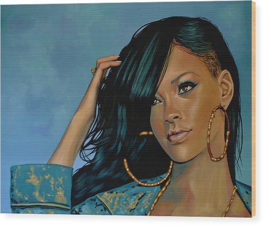 Rihanna Painting Wood Print