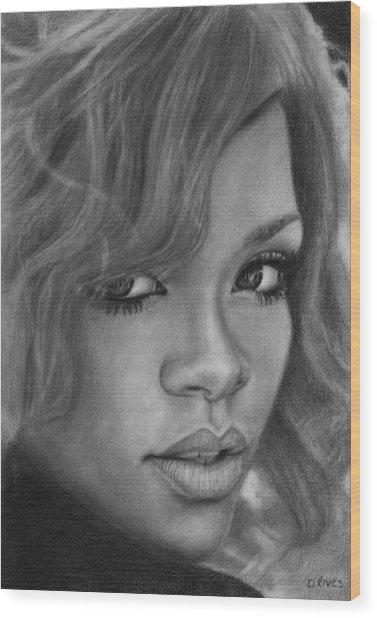 Rihanna Pencil Drawing Wood Print
