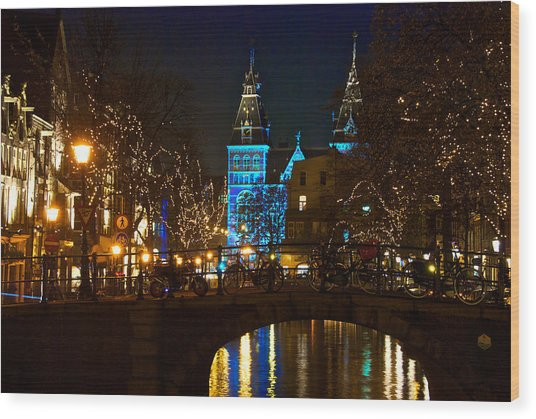 Rijksmuseum At Night Wood Print