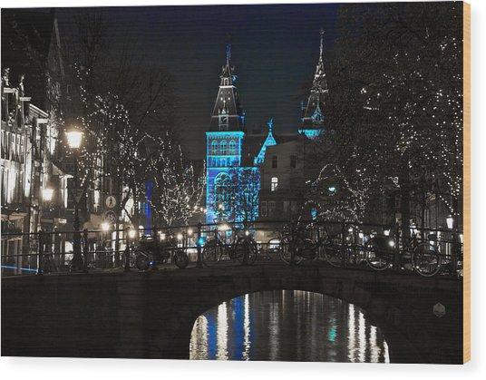 Rijksmuseum In Blue Wood Print
