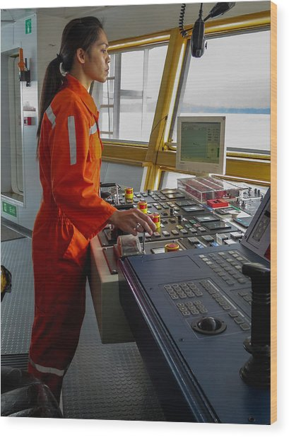 Rima Lumangtad Anchoring Z-drive Ship Wood Print