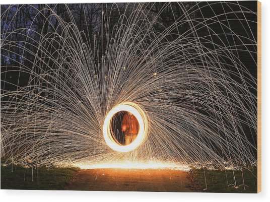 Ring Of Fire Wood Print by Anna-Lee Cappaert