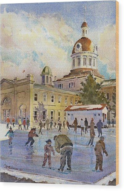 Rink At Kingston Market Square Wood Print