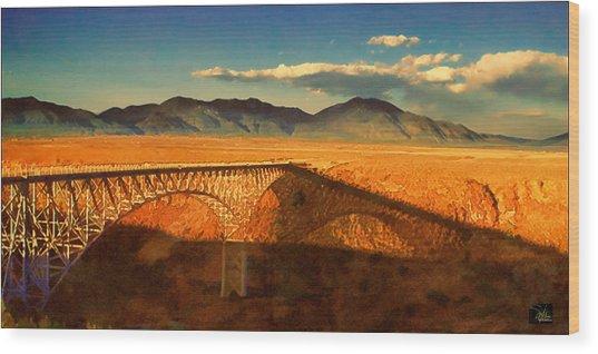 Rio Grande Gorge Bridge Heading To Taos Wood Print