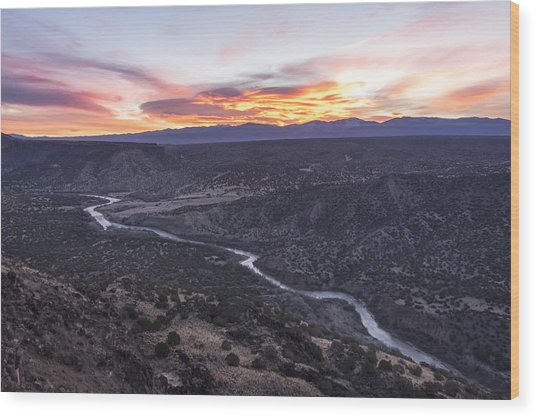 Rio Grande River Sunrise - White Rock New Mexico Wood Print