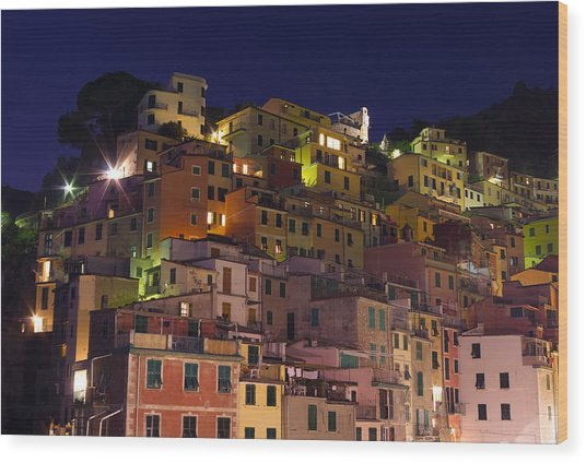 Riomaggiore Buildings At Night Wood Print by Ioan Panaite
