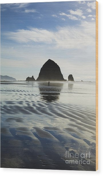 Rippled Sand At Cannon Beach Wood Print