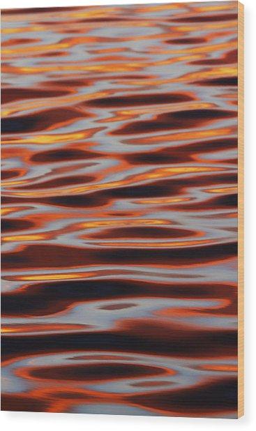 Ripples At Sunset Wood Print