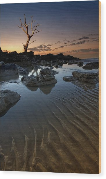 Ripples In The Sand Wood Print by Mark Leader