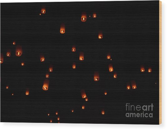 Rise Festival Lanterns 2014 Horizontal Sky Only Number One Wood Print