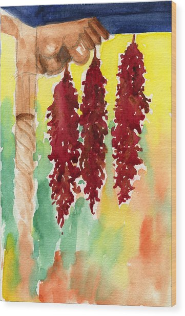 Ristras At Taos B And B Wood Print